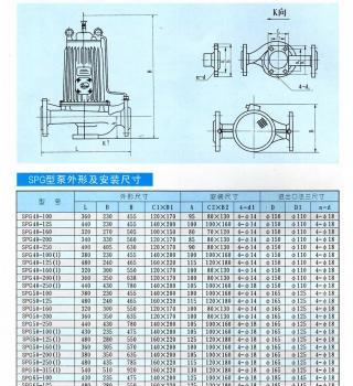 SPG系列管道屏蔽泵(安装尺寸)