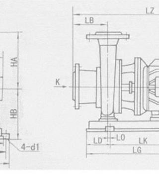 ISW型卧式管道离心泵(安装尺寸)